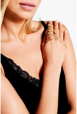 Elena Leaf and Chain Ring Hand Harness