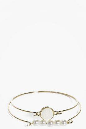 Katherine Pearl and Plain Bracelet 2 Pack