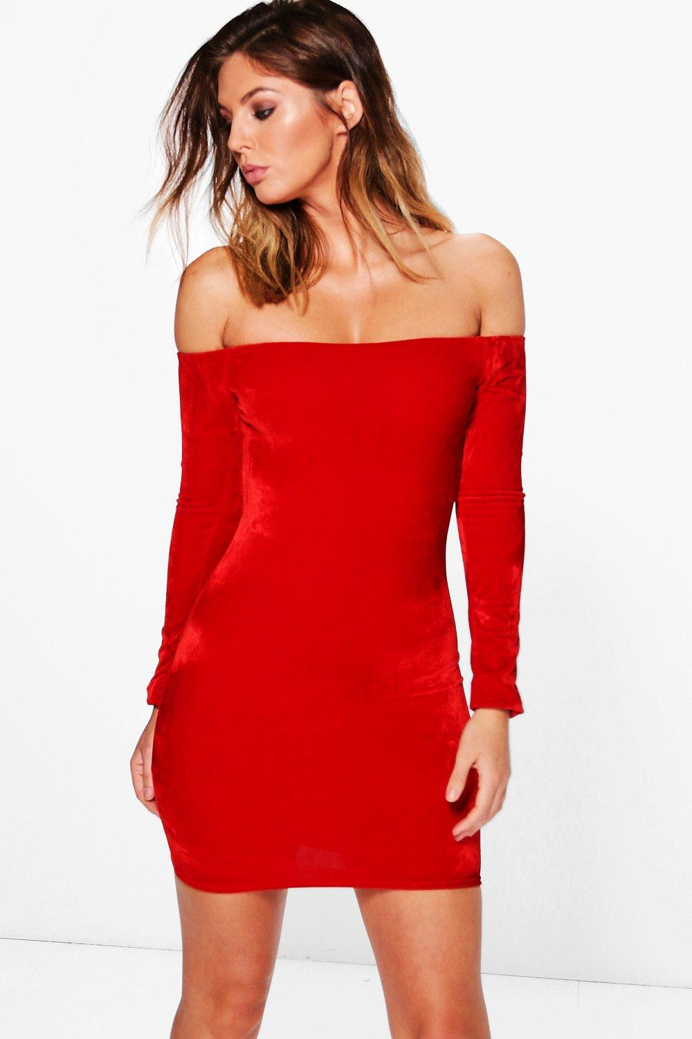 Lilou Velvet Off Shoulder Bodycon Dress