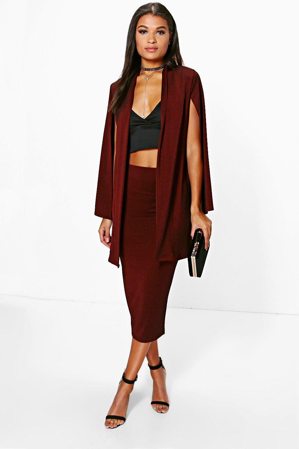 Olivia Slinky Duster Cape & Midi Skirt Co-Ord