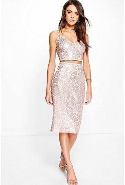Lola Boutique Sequin Plunge Bralet & Skirt Co-ord