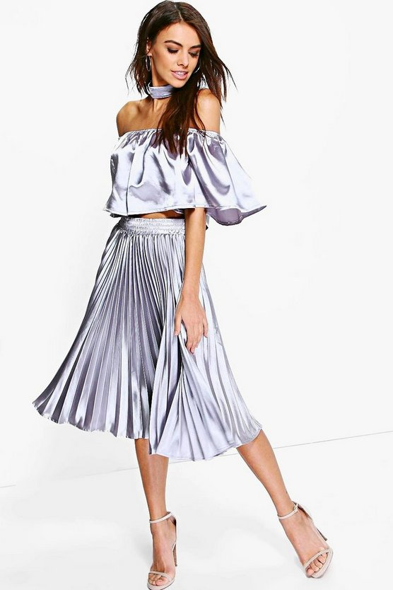 Eve Satin Off The Shoulder Crop & Skirt Co-Ord