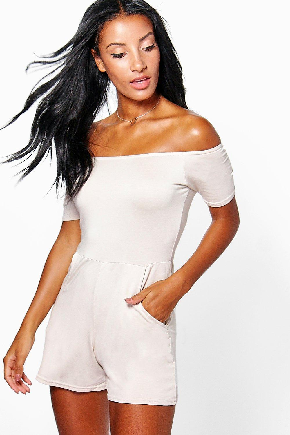 Lois Off The Shoulder Jersey Playsuit