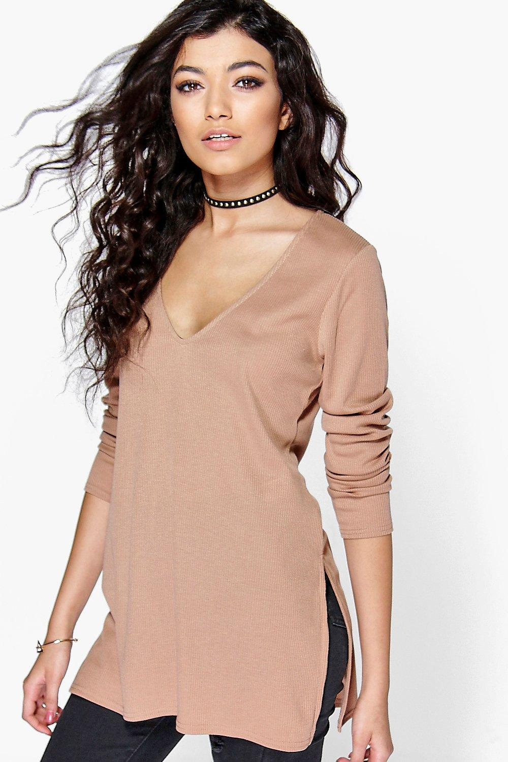 Lily V-Neck Rib Knit Jumper