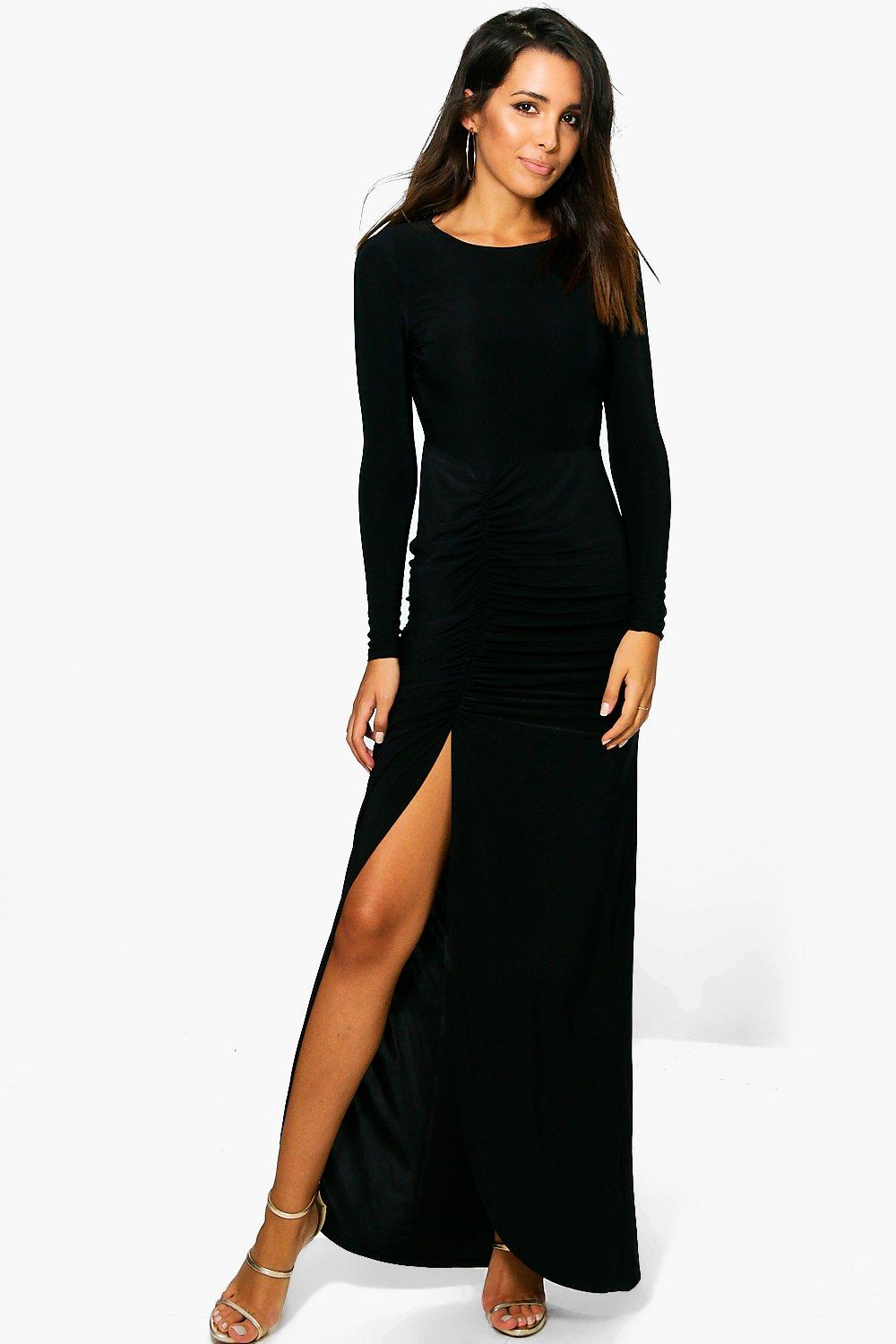 Coralie Ruched Thigh Split Slinky Maxi Dress