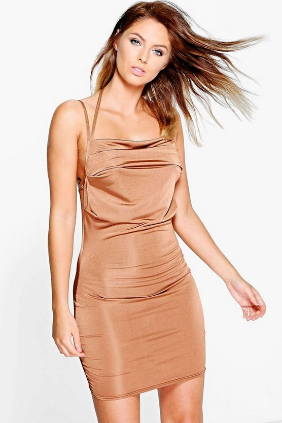 Ari Drape Cowl Strappy Slinky Bodycon Dress
