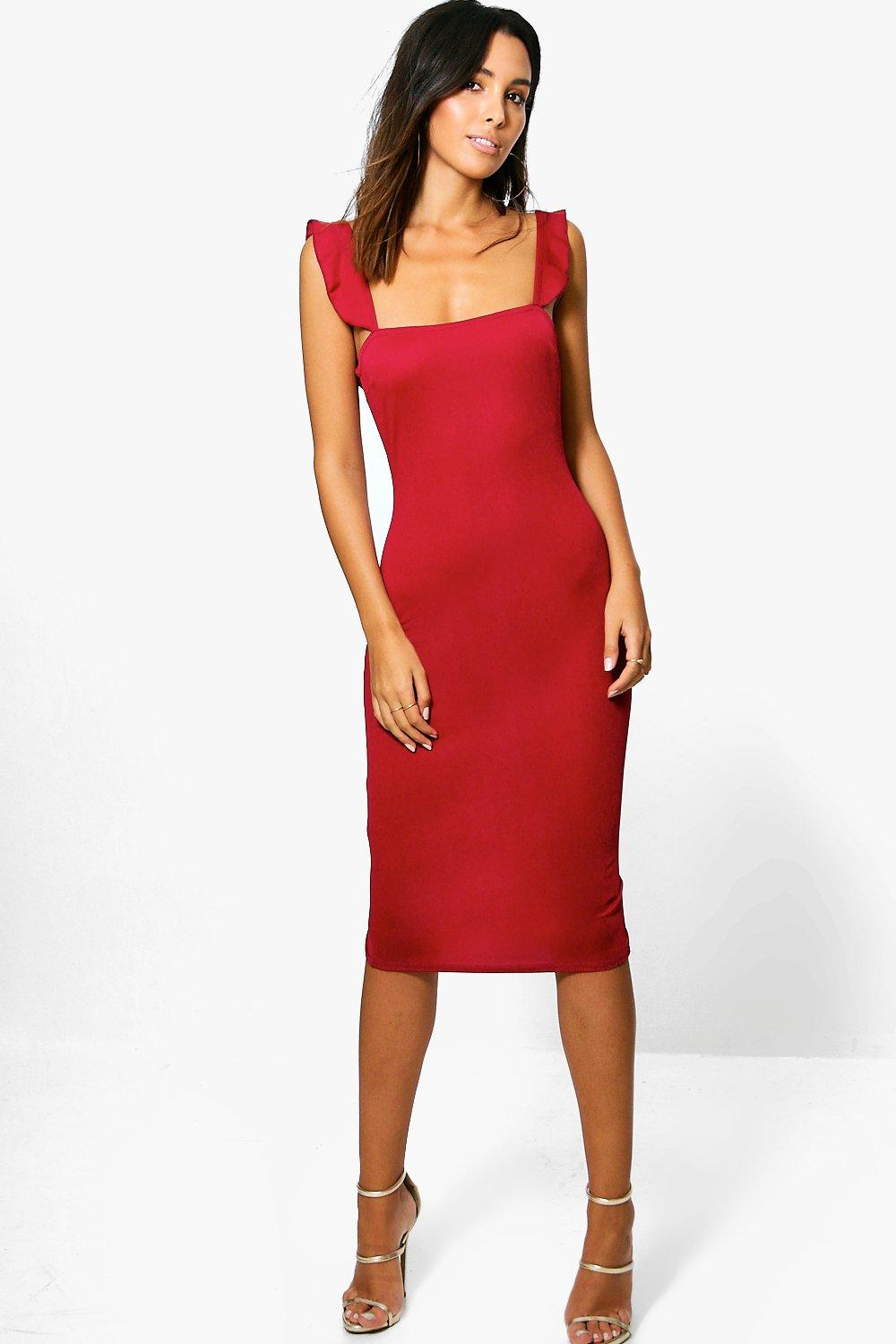 Sophina Frill Strappy Fitted Midi Dress
