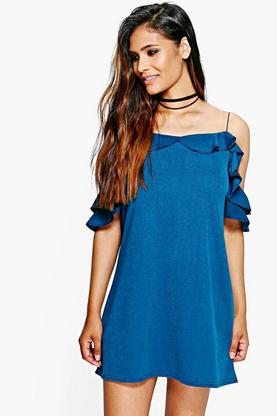 Eli Cold Shoulder Frill Detail Shift Dress