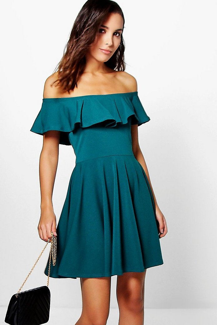 Abela Off Shoulder Frill Detail Skater Dress