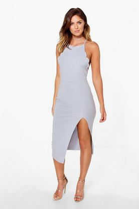 Hazel Scallop Detail Midi Dress