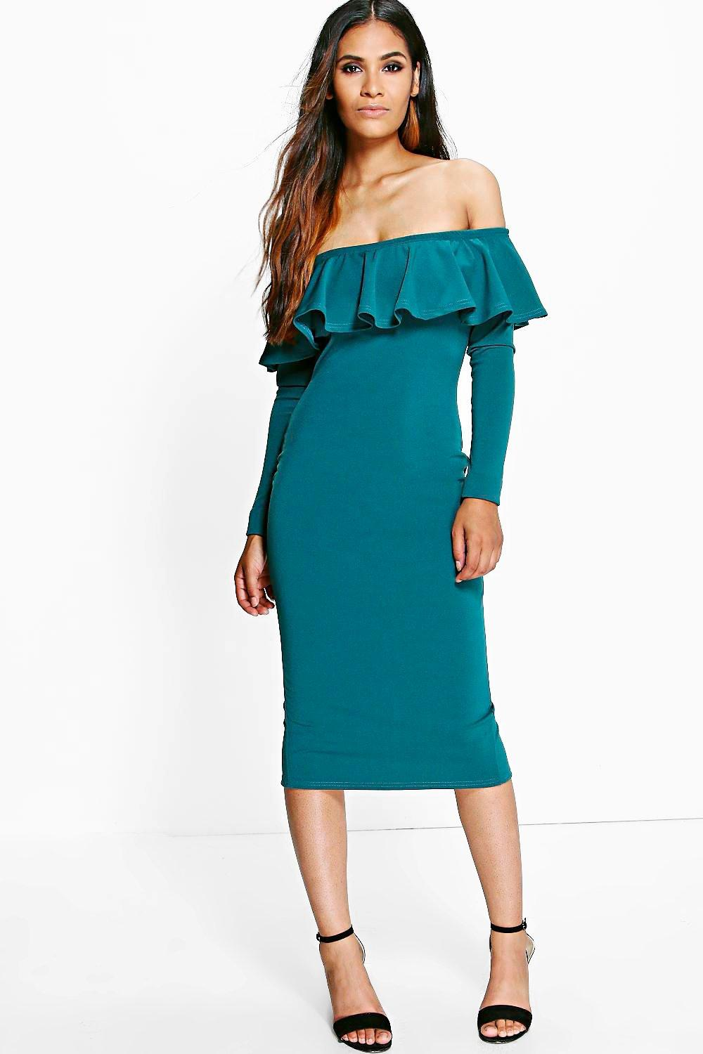 Jayne Off Shoulder Frill Midi Bodycon Dress