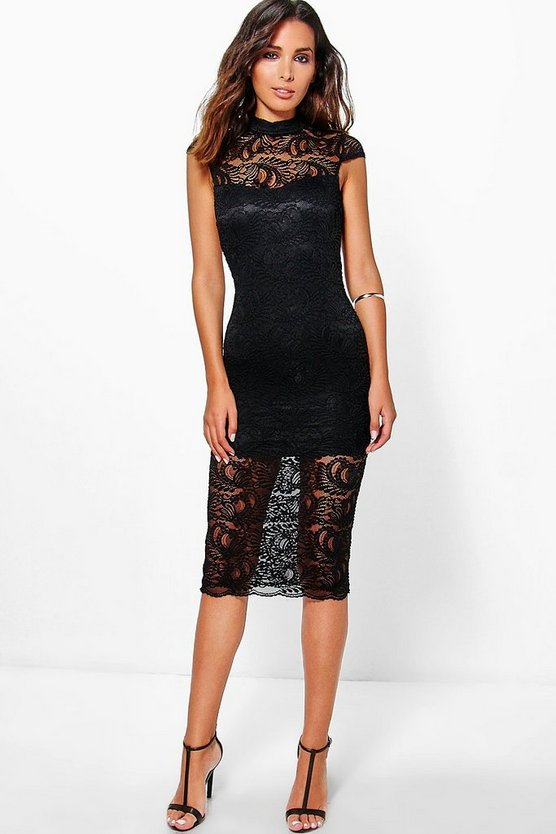 Josey All Over Lace Cap Sleeve Midi Dress