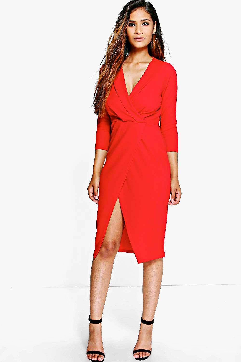 Bai Crepe 3/4 Sleeved Wrap Detail Midi Dress
