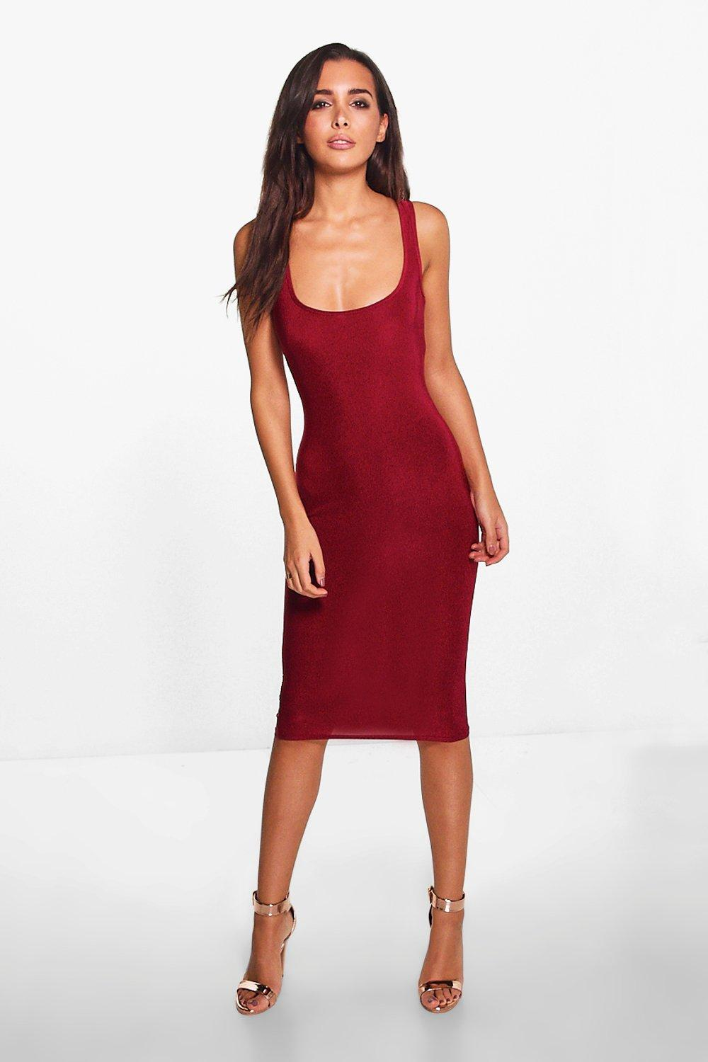 Slinky Square Neck Midi Dress - berry