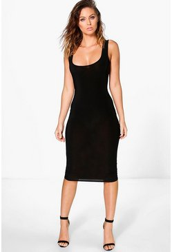 Cleopatra Slinky Square Neck Midi Dress