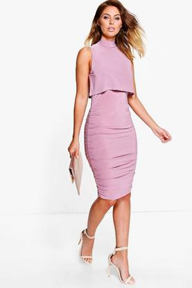 Ita Slinky Double Layer High Neck Bodycon Dress