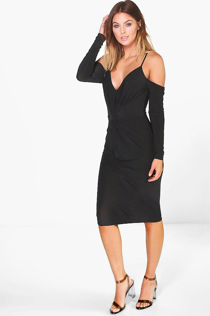 Ash Slinky Knot Front Open Shoulder Midi Dress