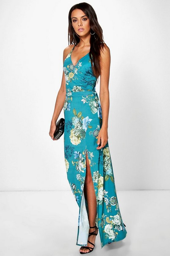 Austen Floral Skinny Neck Tie Wrap Dress