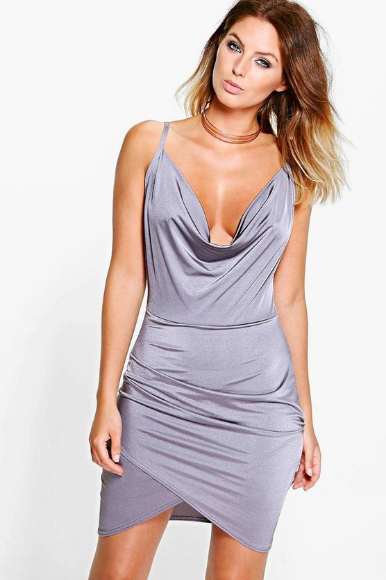 Peta Cowl Neck Wrap Bodycon Dress