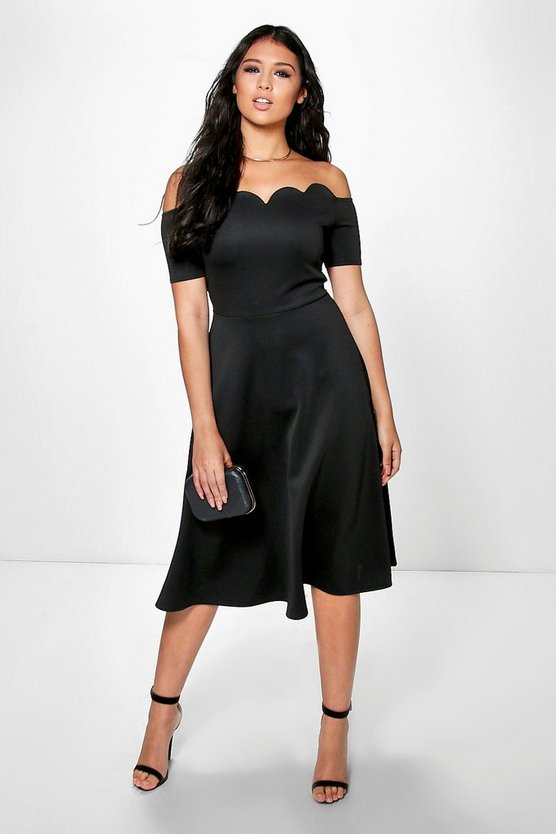 Di Scallop Off Shoulder Midi Skater Dress