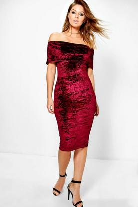 Emi Velvet Off Shoulder Bardot Midi Dress