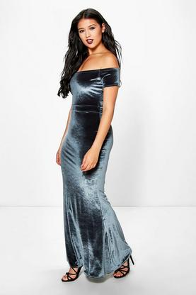 Luci Off Shoulder Velvet Fishtail Maxi Dress