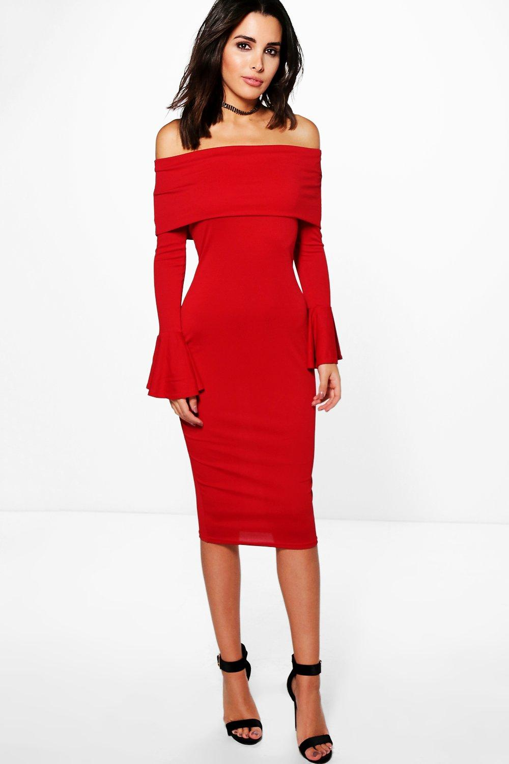 Annora Oversized Bardot Midi Dress