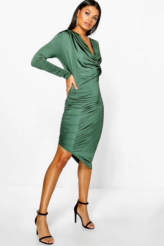 Dahlia Slinky Cowl Neck Midi Dress