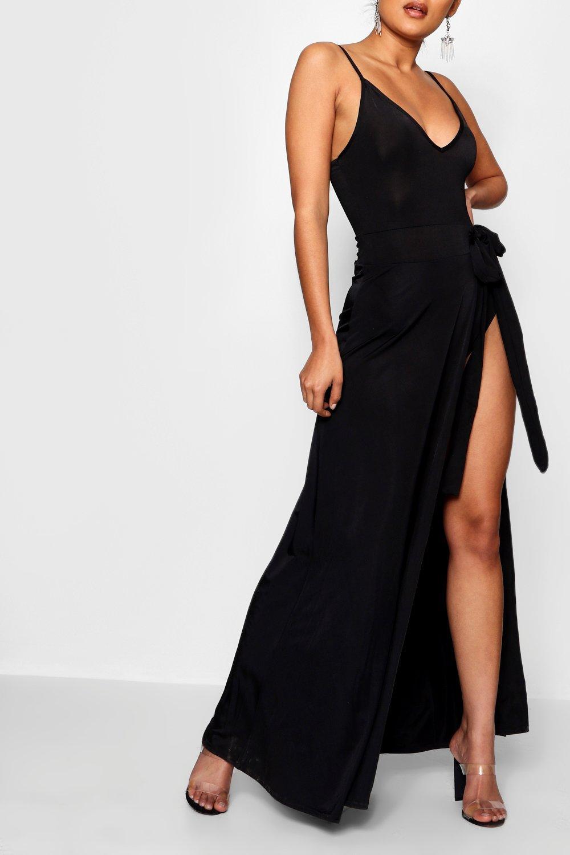 Boohoo Womens Sheeva Slinky Strappy Side Tie Maxi Dress | eBay