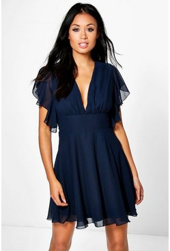 Melodie Chiffon Frill Detail Skater Dress