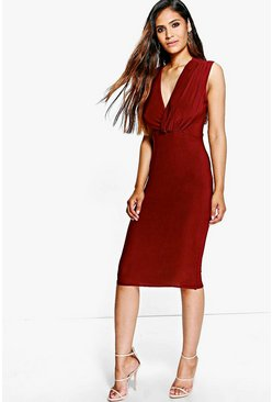 Leilani Slinky Drape Wrap Midi Dress