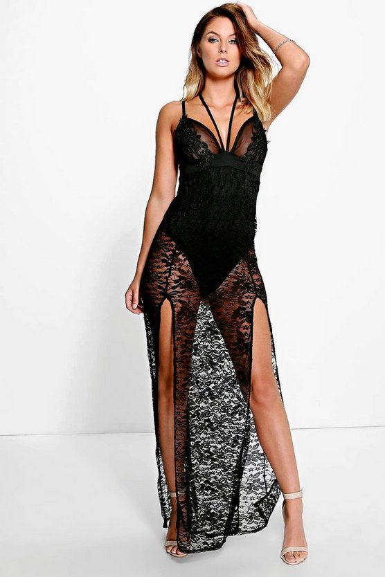 Aisha Lace Sheer Applique Detail Maxi Dress