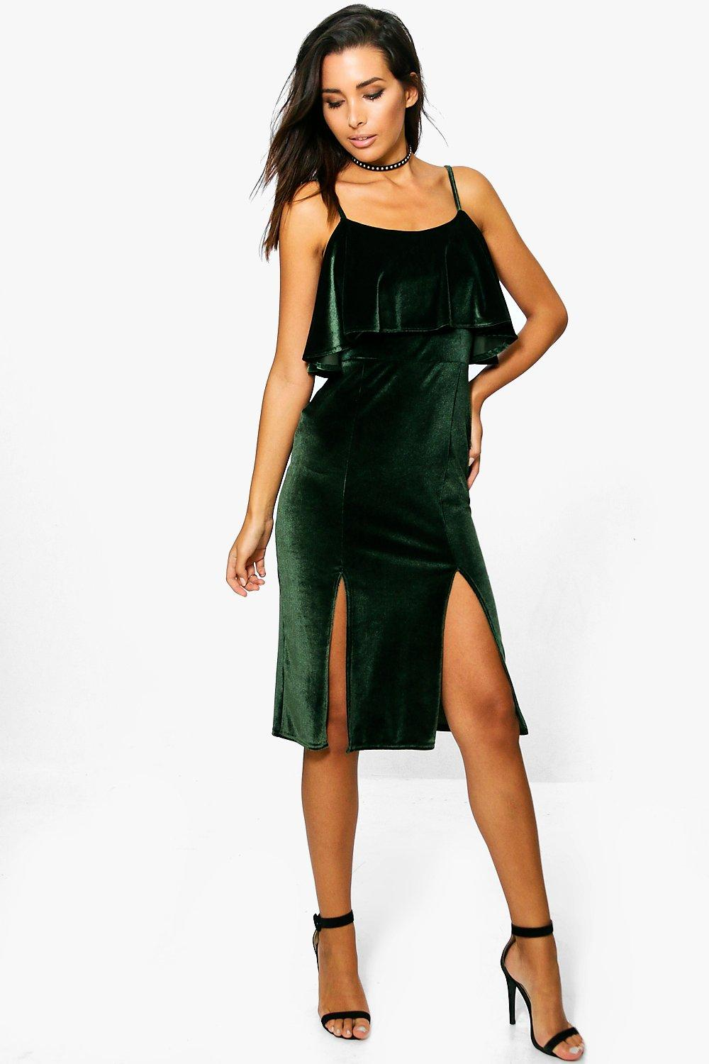 Maddie Velvet Frill Strappy Midi Dress