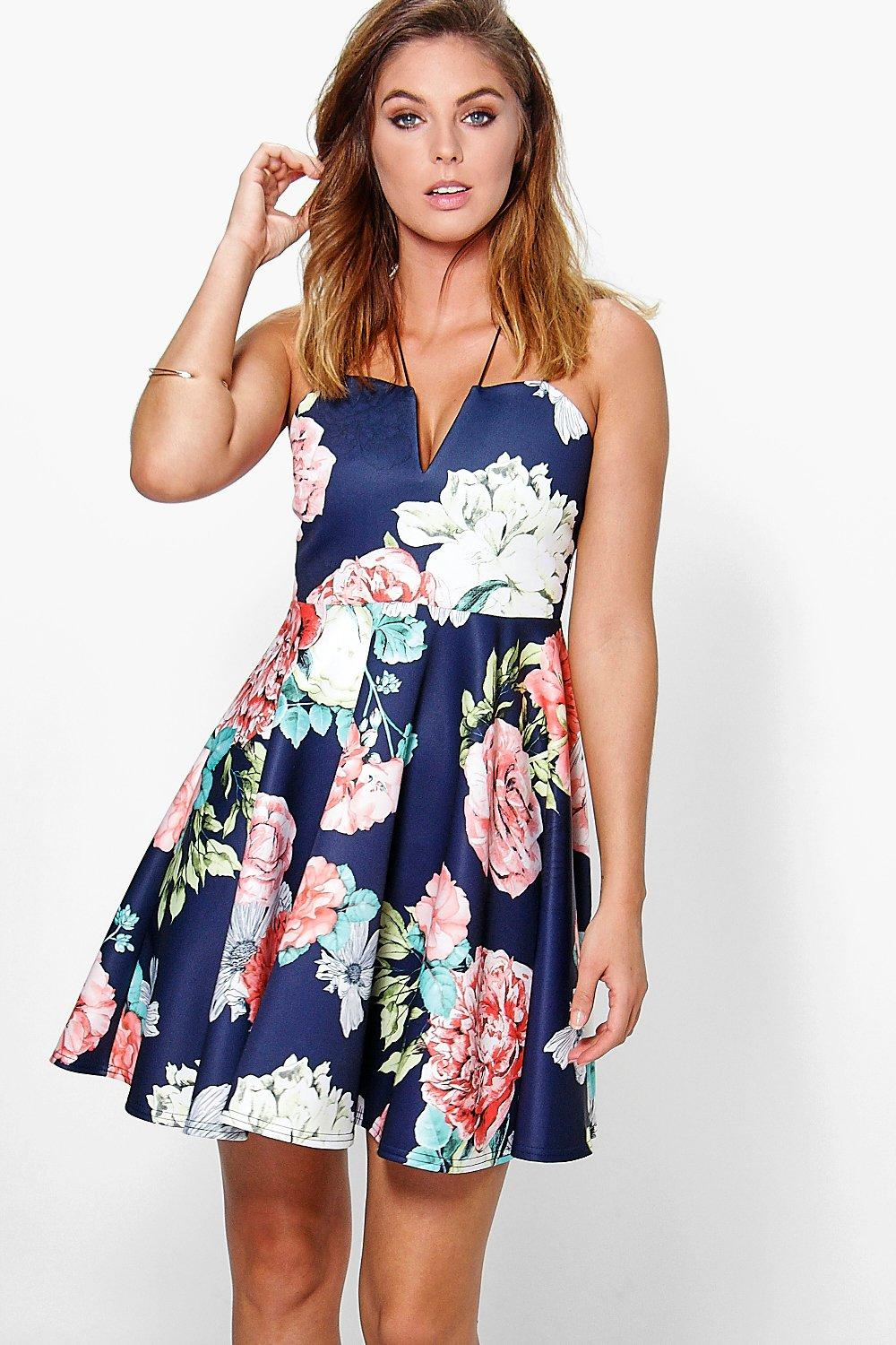 Fiona Floral Strappy Skater Dress
