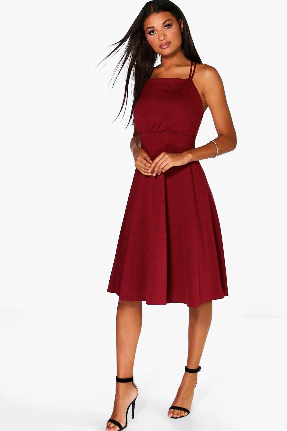 Ziggy Square Neck Midi Skater Dress