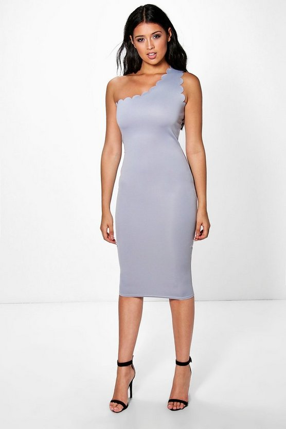 Xenia One Shoulder Midi Bodycon Dress