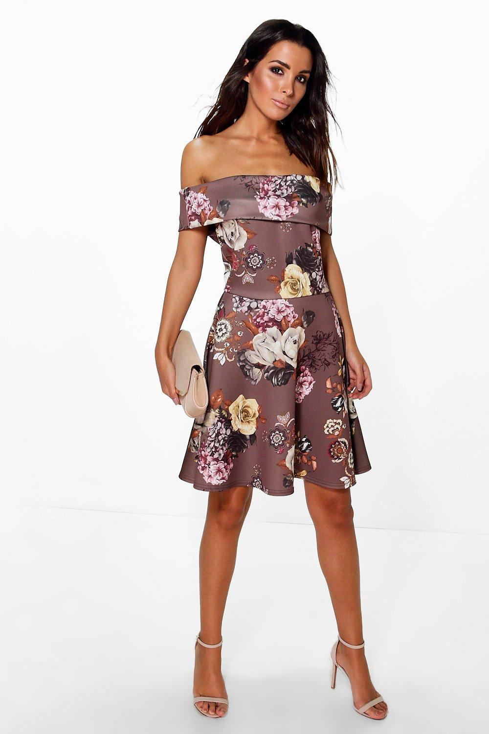 Gracie Floral Oversized Bardot Skater Dress