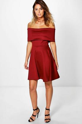 Dora Oversized Bardot Skater Dress