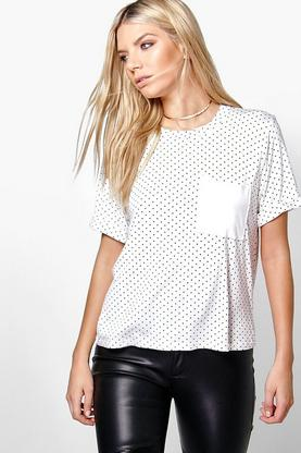 Adeline Polka Dot Patch Pocket Cuff Tee