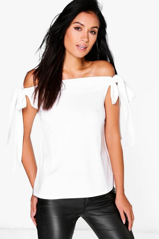 Mila Bow Sleeve Bardot Top
