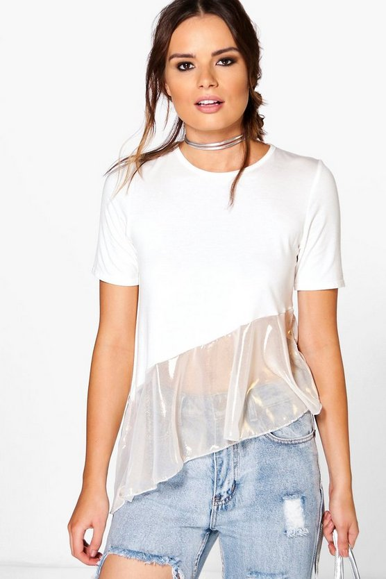 Georgia Metallic Frill Hem T-Shirt