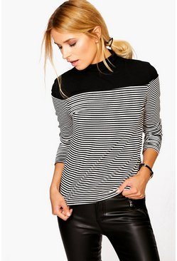Lily Striped Rib Fitted Polo Neck