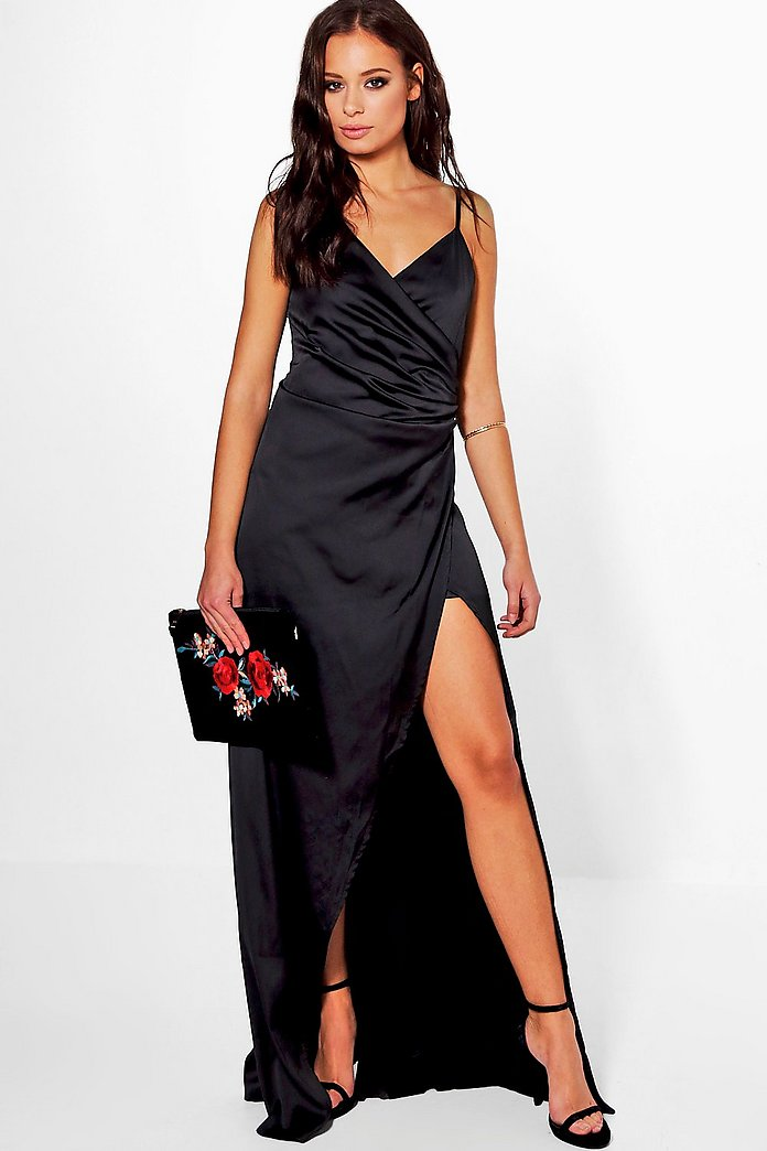 Boutique Ray Satin Wrap Strappy Maxi Dress