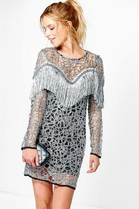 Boutique Ava Tassel Long Sleeved Dress