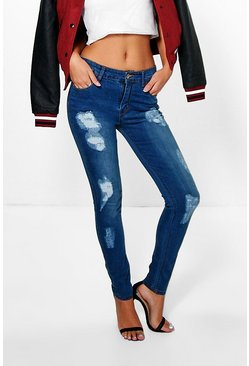 Eve Mid Rise Distressed Skinny Jeans