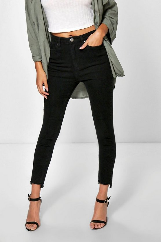 Step Hem High Waisted Slim Leg Jeans