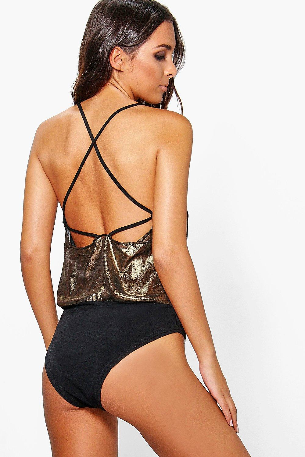 Brea Metallic Cross Back Bodysuit