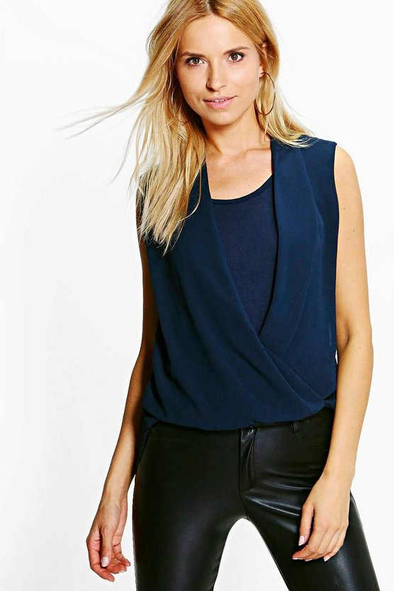 Florence Wrap Over Lace Back Sleeveless Blouse