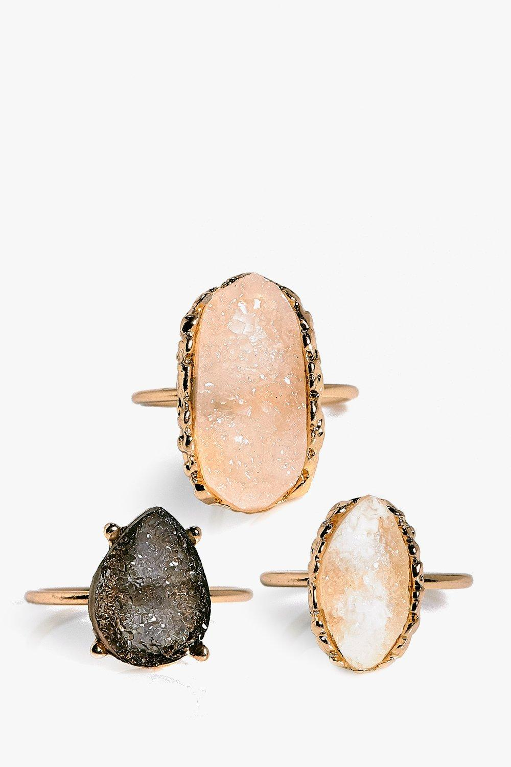 Layla Crystal Stone 3 Ring Pack