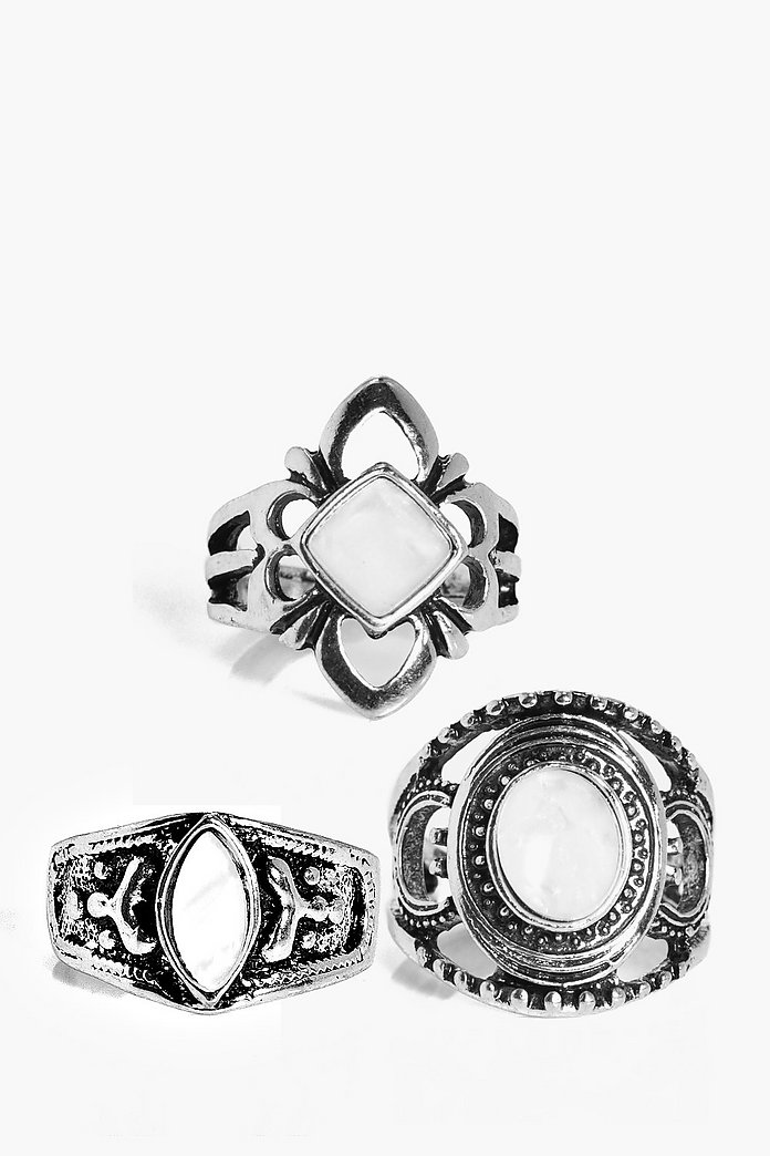Lucy Ornate Stone Ring Pack